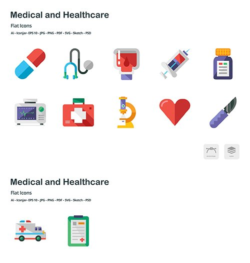Medical and Healthcare Flat Colored Vector Icons