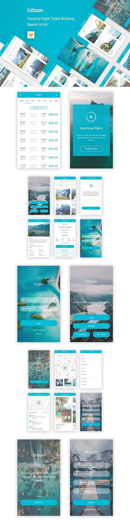 Udaan - Travel & Flight Booking App for Sketch XD