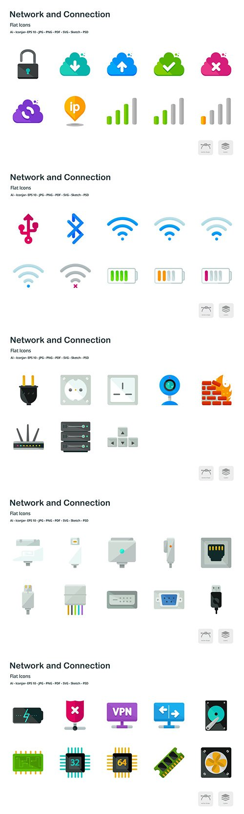 Network and Connection Flat Colored Icons