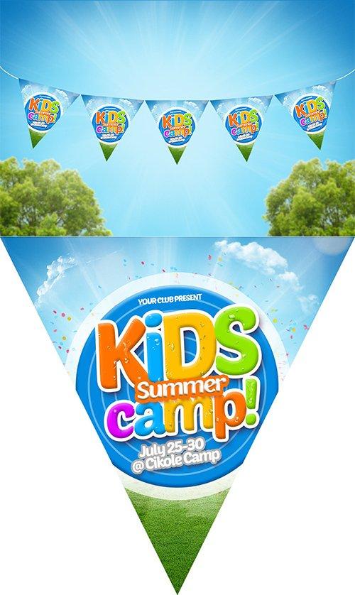 Kids Summer Camp PSD Flag Chain