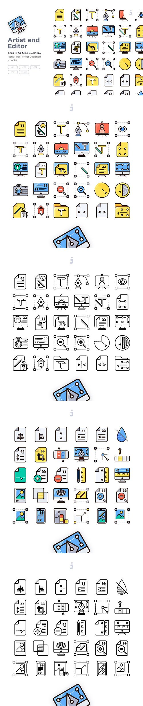 60 Art and Editor Icon set - Detailed Round line