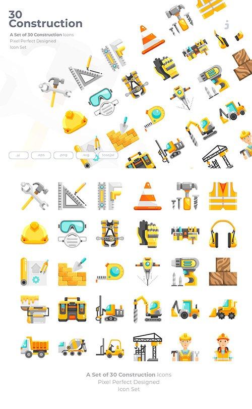 30 Construction Icons - Flat