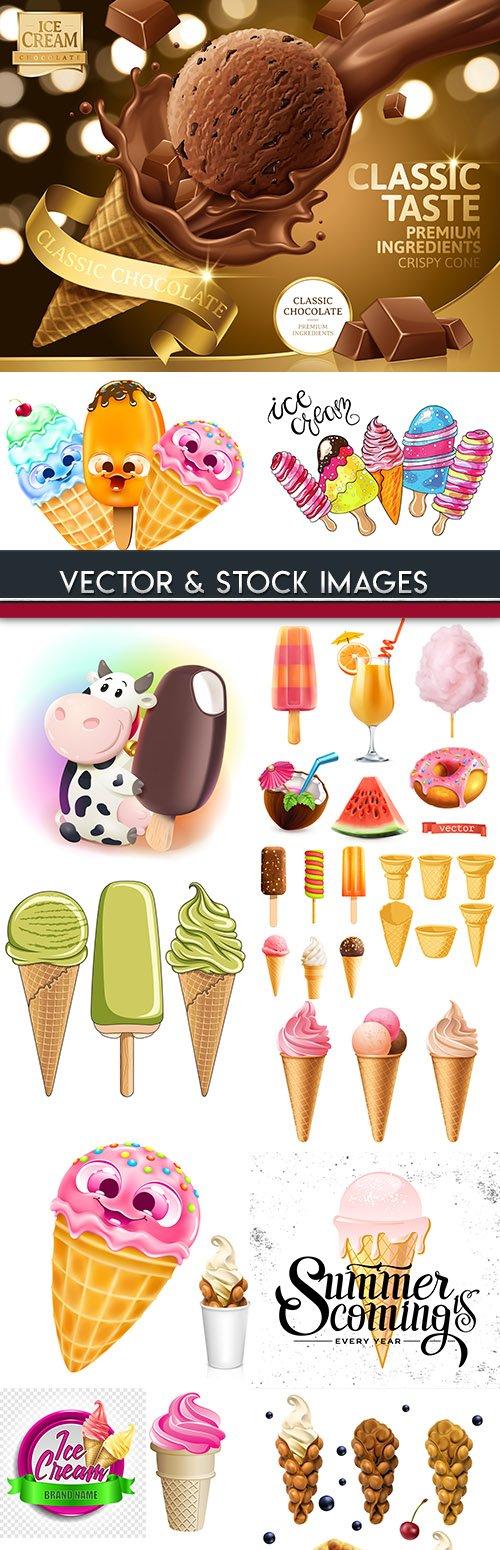 Ice cream summer, sweet food tasty collection