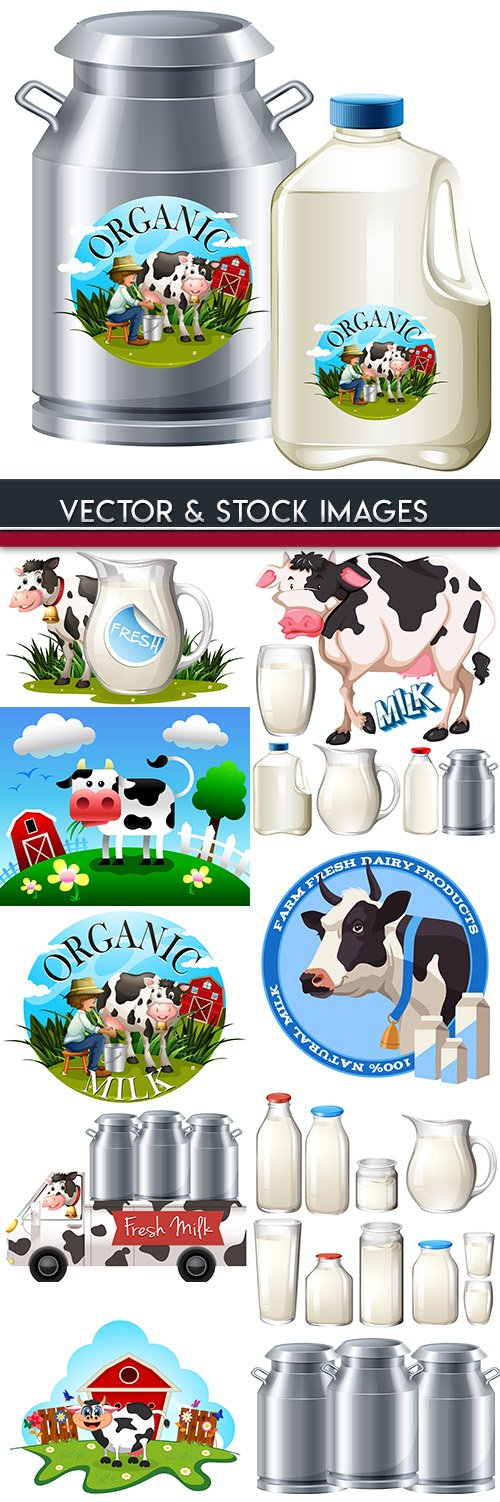 Natural fresh dairy products cartoon an illustration