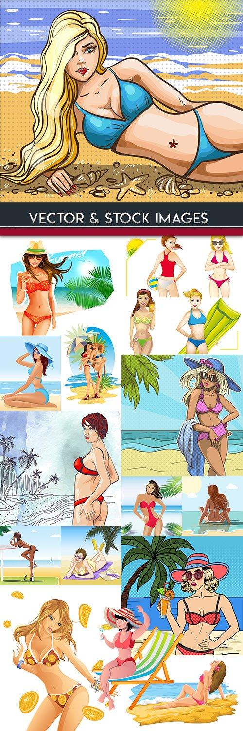 Suntanned girls in bikini on summer beach