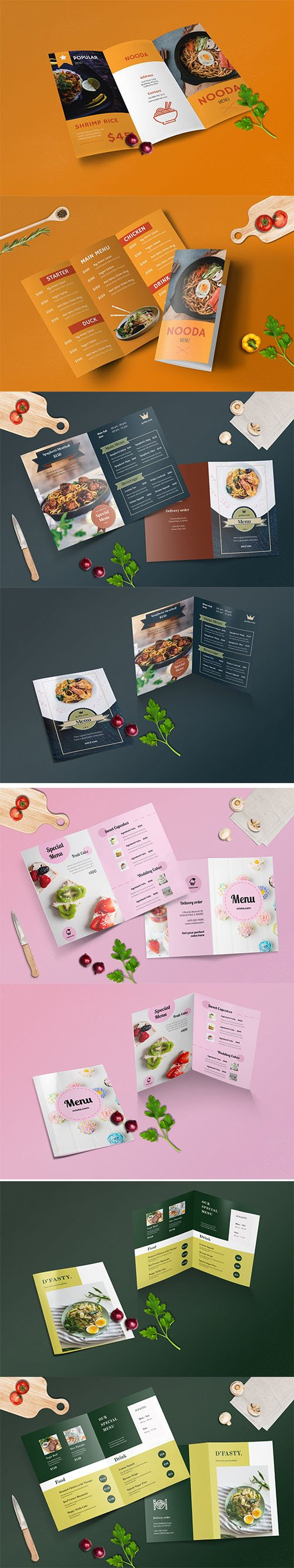 Bifold and Trifold Restaurant Menu Vector Template Set