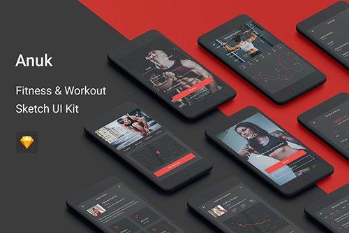 Anuk - Fitness & Workout Sketch UI Kit