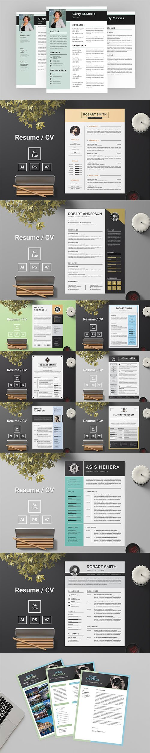 CV & Resume Template PSD and AI Pack Vol2