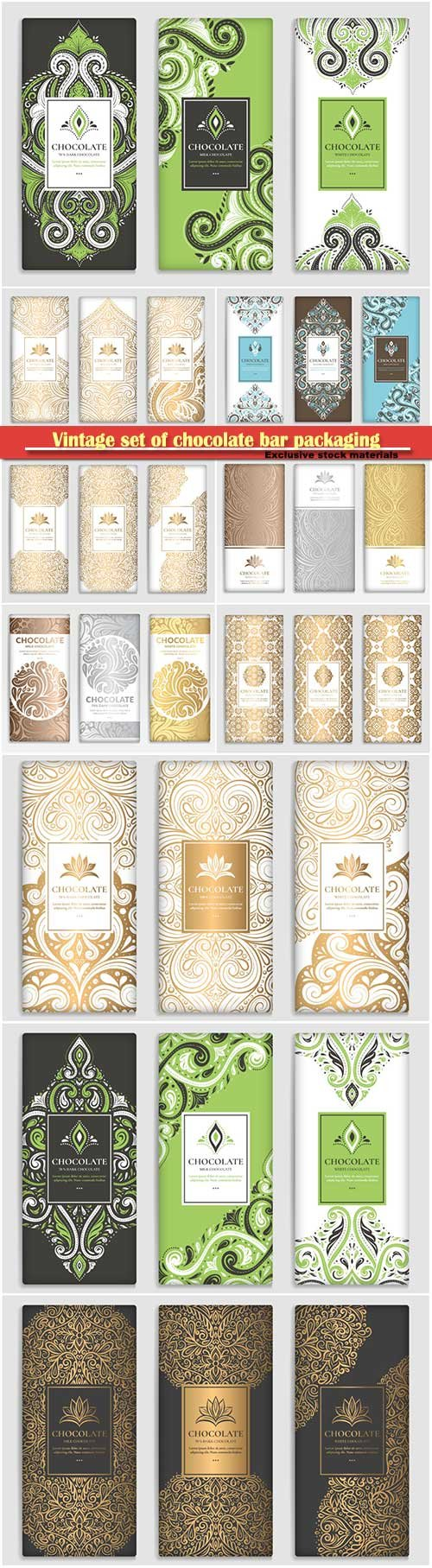 Vintage set of chocolate bar packaging design, vector luxury template with ornament elements