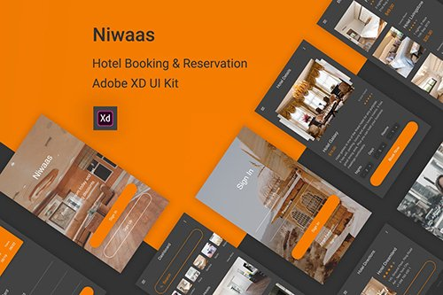 Niwaas - Hotel Booking & Reservation for Adobe XD