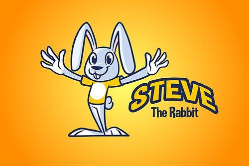 Cartoon Rabbit Mascot Vector Logo