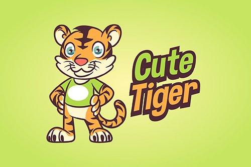 Cartoon Cute Little Tiger Mascot Vector Logo