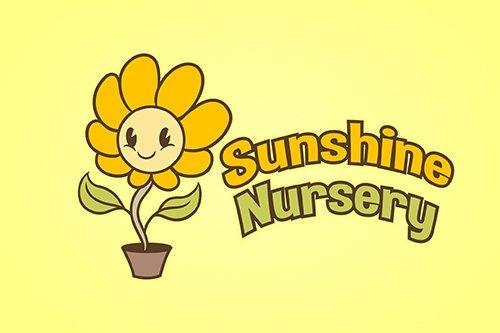 Cartoon Sunflower Mascot Vector Logo