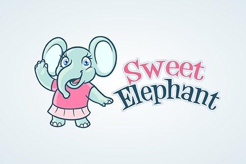 Sweet Little Elephant Girl Mascot Vector Logo