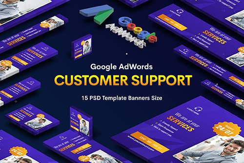 Customer Support PSD Banners Ad