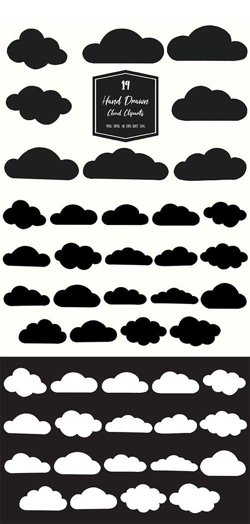 Hand Drawn Cloud Vector Cliparts