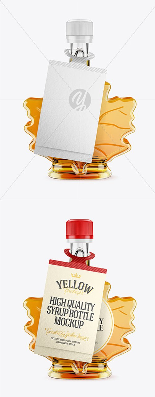 Maple Syrup Bottle w/ Tag Mockup 45448 TIF