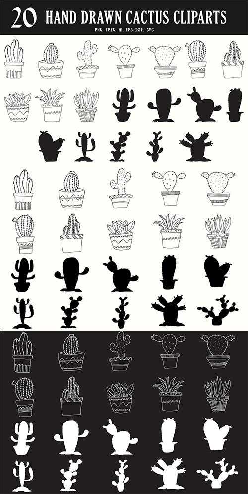 20 HandDrawn Cactus PNG and Vector Cliparts