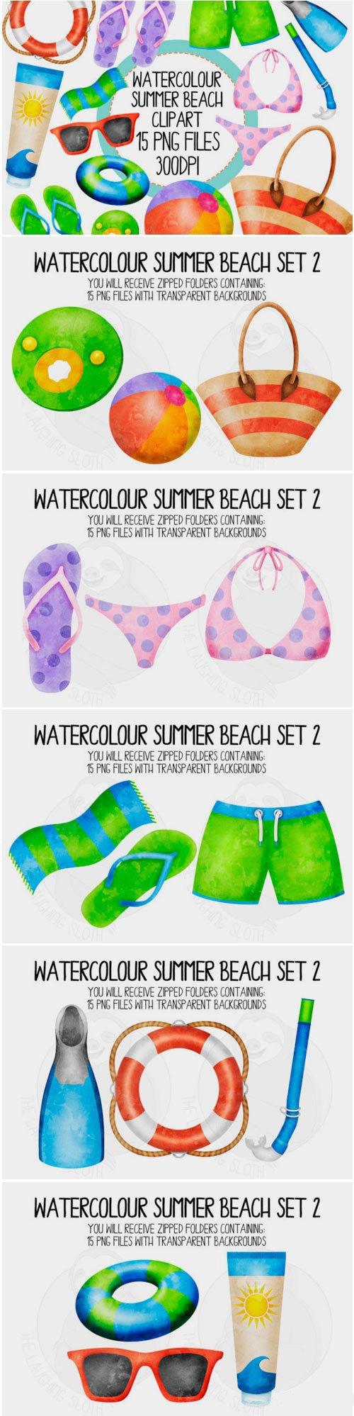 Watercolour Summer Beach Set 2 1575861