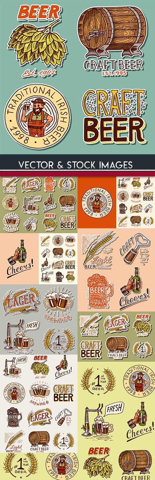 Grade beer and production collection emblems drawn design