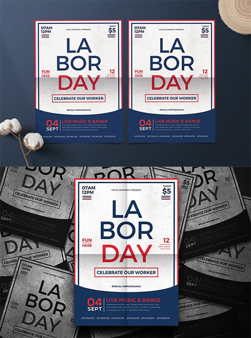 Labor Day PSD and AI Flyer