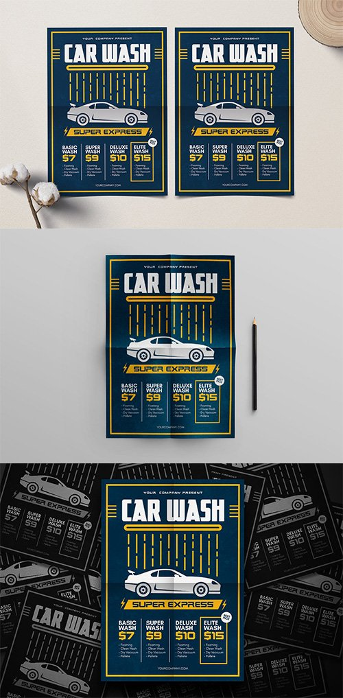Car Wash PSD and AI Flyer