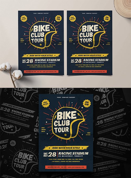 Bike Club PSD and AI Flyer