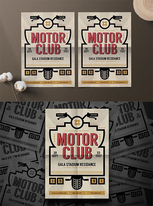 Motor Club PSD and AI Flyer