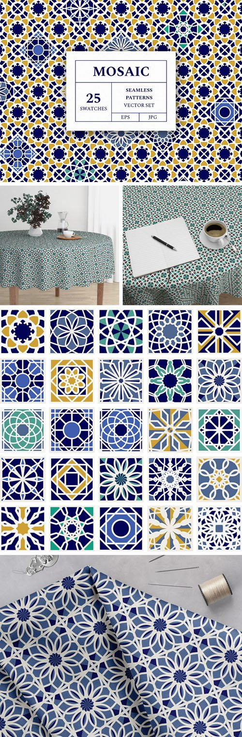 25 Mosaic Seamless Patterns Vector Set