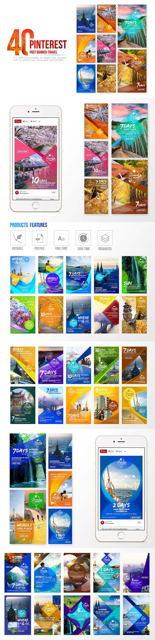 40 Pinterest Post-Banner Travel in PSD