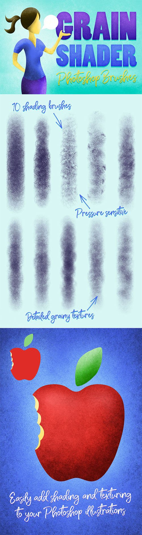 10 Grain Shader Photoshop Brushes