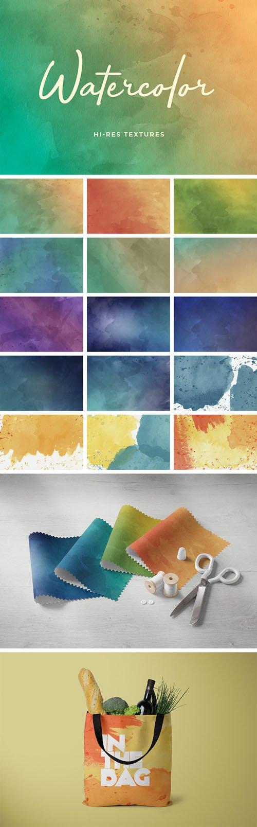 16 Watercolor Hi-Res Textures Set