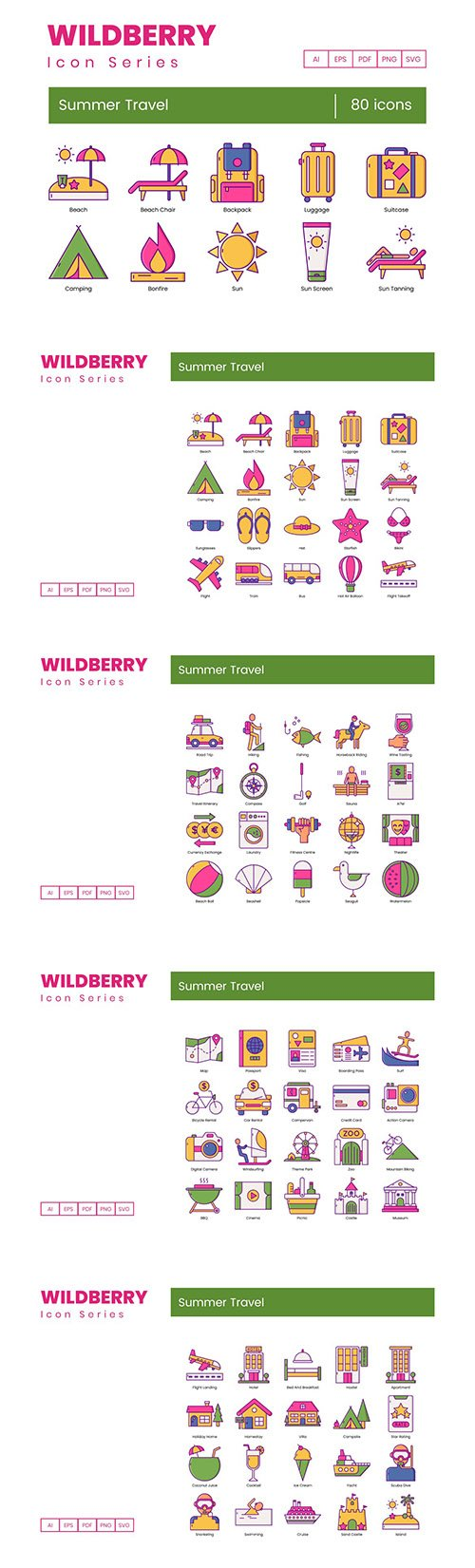 80 Summer Travel Icons | Wildberry Series