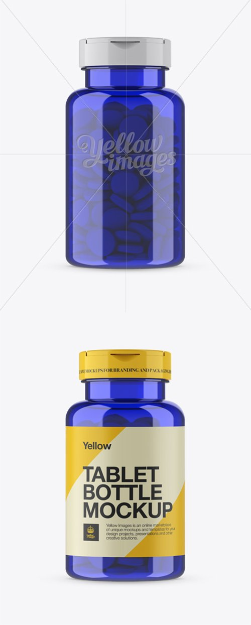 Blue Pill Bottle Mockup - Front View 14047 TIF