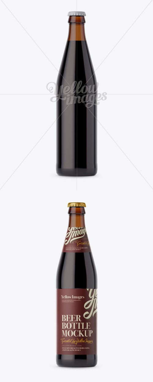 Amber Glass Bottle with Dark Beer Mockup 14006 TIF