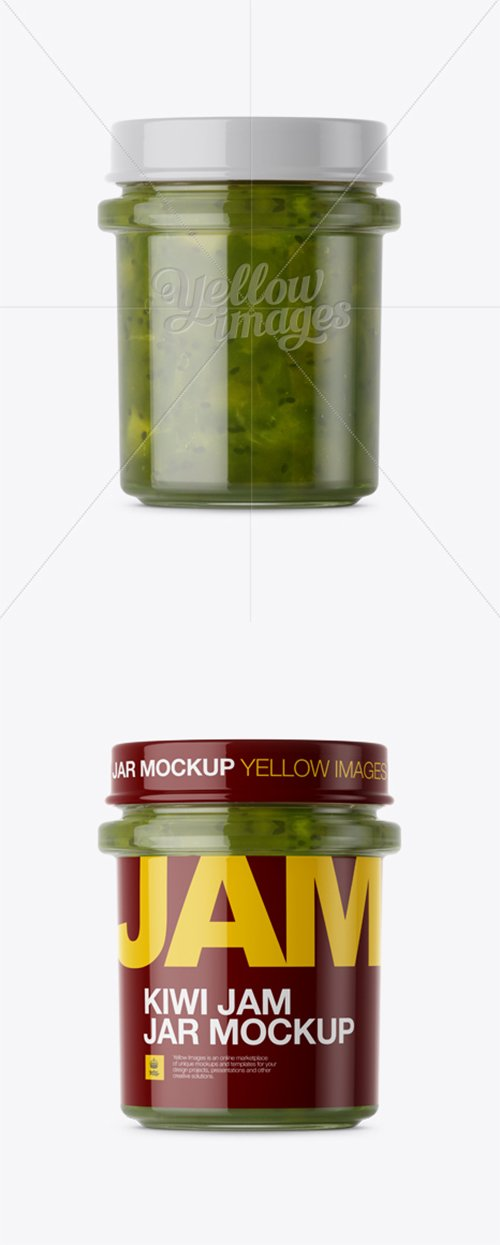 Glass Kiwi Jam Jar Mockup - Front View 13908 TIF