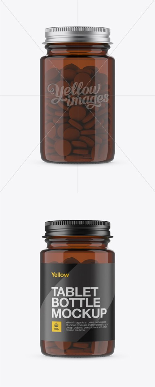 Amber Pill Bottle w/ Metal Cap Mockup - Front View 13445 TIF