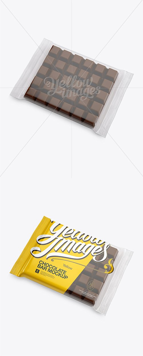 Glossy Square Chocolate Bar Mockup - Halfside View (High-Angle Shot) 14027 TIF