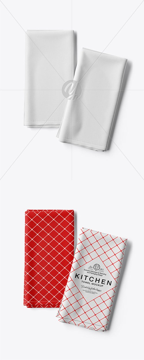 Two Folded Kitchen Towels Mockup - Top View 28138 TIF