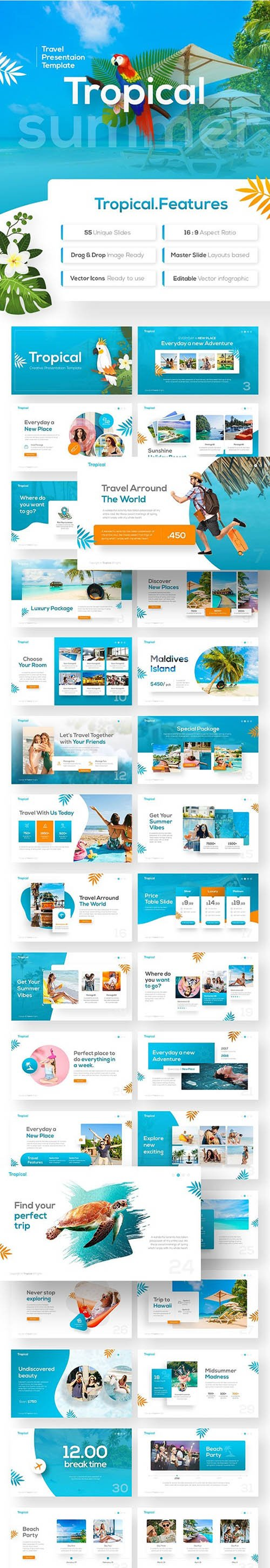 Tropical Travel Presentation Template 22733329
