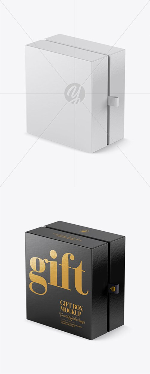 Glossy Gift Box Mockup - Half Side View (High-Angle Shot) 26291 TIF