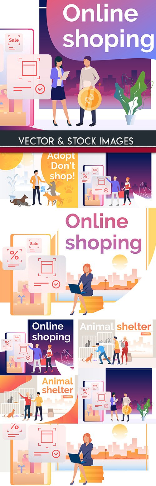 Online shopping and internet marketing concept
