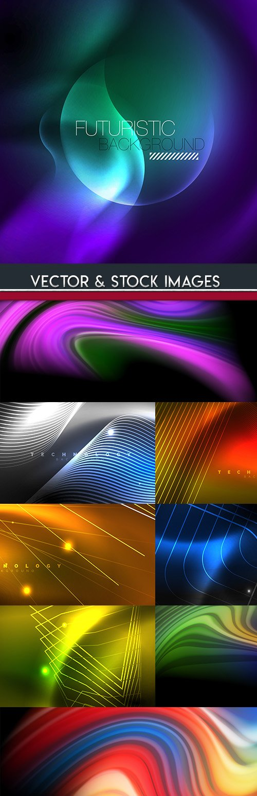 Neon futuristic background geometrical elements 5