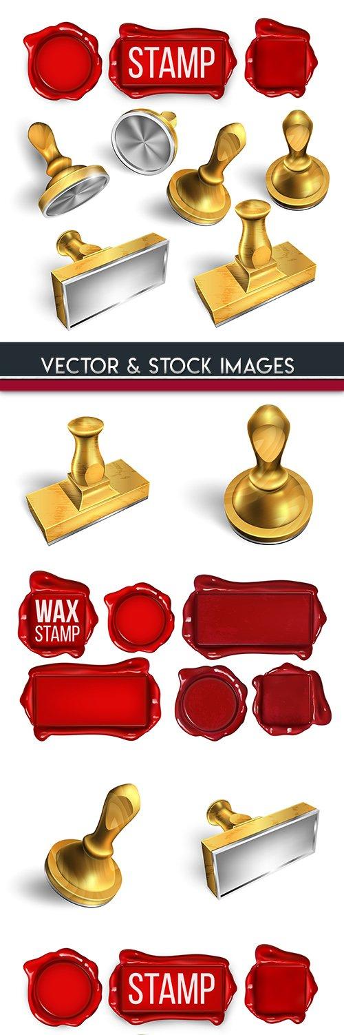 Press and stamp post set elements 3d illustration