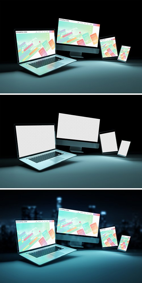 4 Screen Devices on Dark Background Mockup 253165962 PSDT