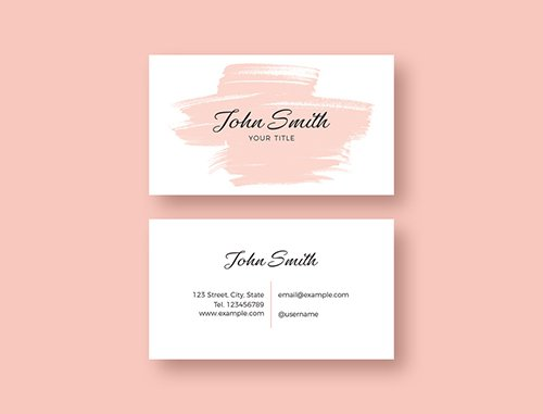 Business Card Layout with Pink Brush Stroke Illustration 253595816 PSDT