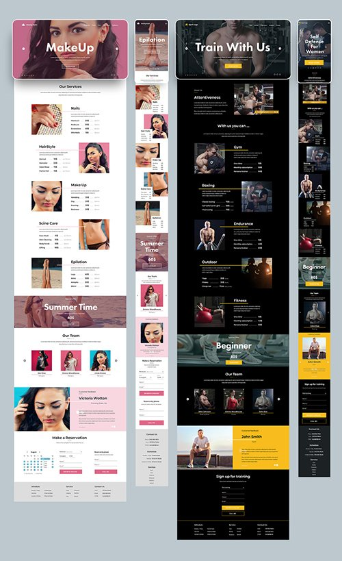 PSDT Desktop and Mobile Website Layout for a Gym and Salon 277952773