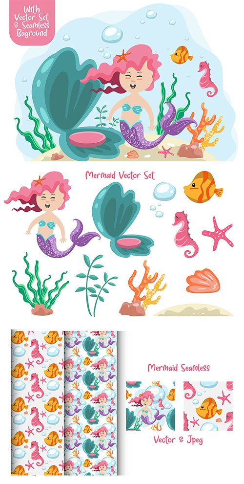 Mermaid vector with seamless