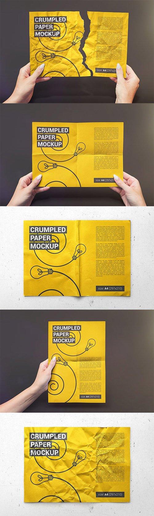 Crumpled A4 Paper / Poster / Flyer Mockup