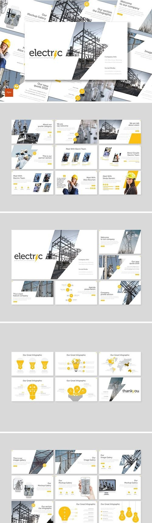 Electric Powerpoint, Keynote and Google Slides Templates